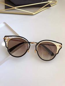 DHELIA Gold Black Metal Lace Cat Eye Sunglasses Brown Gradient des lunettes de soleil Women luxury designer sunglasses new with Box