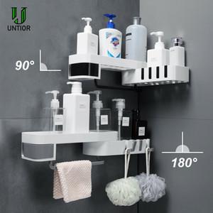 UNTIOR Plastik Banyo Raf Mutfak Ücretsiz delme Depolama Yaratıcı 90 Derece Döndürme Duvar Banyo Aksesuarları Monteli Raf