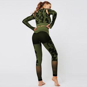 Femmes Set Yoga Courir sans couture Gym Crop Top T-shirt de sport à taille haute Squat Preuve de remise en forme Legging Costume Yoga Workout