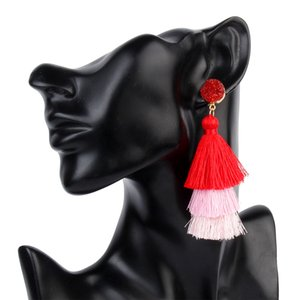 Горячая распродажа Оригинальная ручная работа Новая женская ушная капля Трехслойная кисточка Простые серьги с темпераментом Модные серьги Серьги из ткани