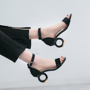 Lucyever 2019 Sommer weibliche High Heel Sandaletten Frauen Seltsame Art reizvolle geöffnete Zehe-Knöchel-Bügel-Partei-Pumpen Sandalia Feminina Y200702