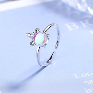 어린이 딸 생일 결혼 선물 링에 대한 대 소녀 반지은 귀여운 유니콘 반지 매력 보석