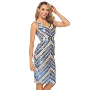 delle donne sexy scollo a V a righe Stitching paillettes vestito casuale Azzurro vestito casuale partito in Europa e in America