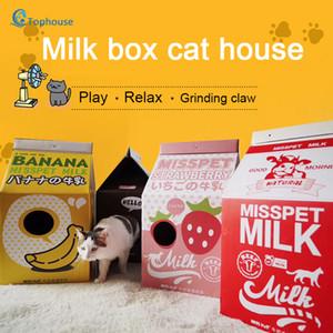 DIY pet house süt kutusu kedi tırmığı kurulu kedi kumu oluklu kağıt kutusu pençe Taşlama oyuncak evini katlanır