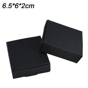 6.5x6x2cm Cajas de papel de exhibición de joyería negra cuadrada Embalaje para encanto estilo pulsera collar caja original Día de San Valentín Almacenamiento