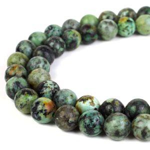 Природный камень African бирюзовый бисер круглый Gemstone Loose бусы для DIY браслет Изготовление ювелирных изделий 1 Strand 15 дюймов 4 6 8 10 мм
