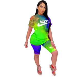 womens designer printed sport suits short-sleeve shirts and pants two piece sets outfits suits tracksuits size S-2XL