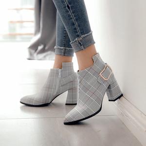 Botines femenina puntas gruesas con el niño estilo británico 2019 nuevos de tacón alto rojos Martin mujeres de los zapatos netos de otoño e invierno