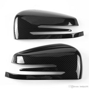 2 개 탄소 섬유 사이드 백미러 캡 커버 트림 메르세데스 벤츠 A B C E GLA 클래스 W204 W212 ABS 플라스틱 자동차 액세서리