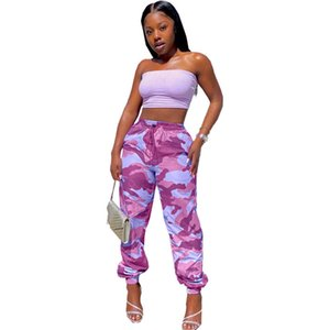 여성 바지 패션 위장 패턴 연필 바지 캐주얼 자연 색상 탄성 허리 카프리 바지 여성 의류