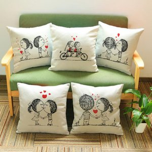 Kawaii Couples Pillow Case Romantic Lover Pillow Cover Valentine's Day Gift Sweet Love Chair Covers Home Sofa Bed Decor