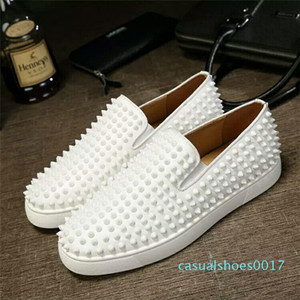 Designer Red Bottom Loafers For Men Women Genuine Leather Slip On Platform Casual Sneakers Spikes Wedding Party Flats Men Shoes 35-46 c17