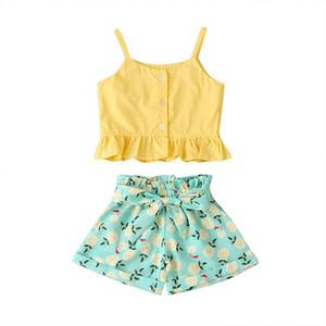 Ragazze Bretelle Tops Pants + Bow attrezzature di estate 2020 bambini boutique di abbigliamento 1-4 ragazze senza maniche Ruffle Top 2 PC Set di moda