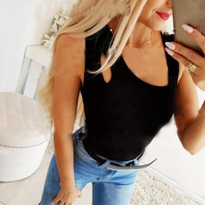Women's T-shirts Summer Tops Sexy Sleeveless Clothing Black White Solid Color Casual Slim Fit Breathable Tops Lady New T-Shirt