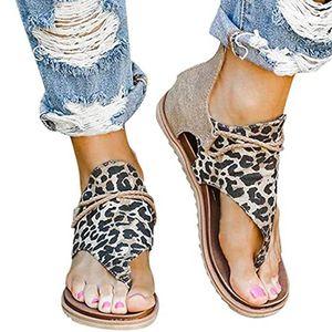 2020 Wholesale Women's Gladiator Sandals Posh Comfy Flip Flop Flat Summer Beach Open Toe Sandlas with Back Zipper 01