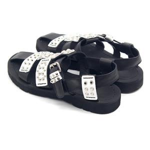 Мода гладиатор сандалии Мужчины лето Punk Rivet выдалбливают платформы Обувь Сандалии Повседневная Кожа верхнего качества Sandalias HOMBRE