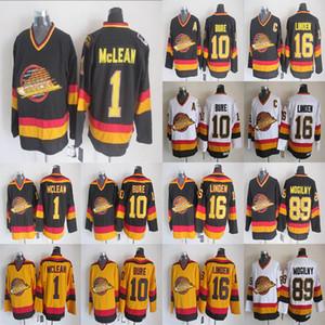 Vintage Vancouver Miras Canucks 1 Kirk Mclean 10 Pavel Bure 16 Trevor Linden 89 Alexander Mogilny Siyah Beyaz Nhl Buz Hokeyi Formalar