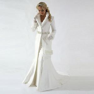 Moderno 2020 Capa de novia de invierno chaqueta de la capa de boda de manga larga de piel de la piel de imitación de lentejuelas de los vestidos de novia de la boda moldeado del satén del mantón lindo