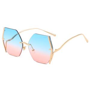 Europe And The United States Big Box Sunglasses Retro Box Personality Sunglasses Women's Personality Gold Frame Top Sun Visor Ocean Lens