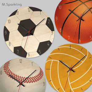 Cartoon Wall Clock Home Prints creative wall clock Living Room Bedroom Ball wooden Decorative Cartoon Wall Clock