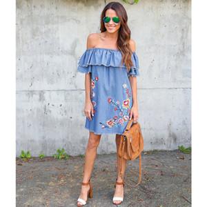 Une épaule brodée sexy jupe courte en denim robe féminine tissu européen et américain nouveaux produitsve