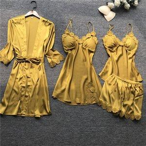 Pajamas women's pajamas four-piece Korean version of the pajamas home service with chest pad nightgown night dress set