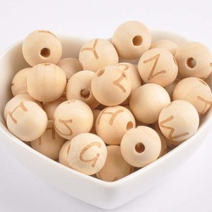14MM Natural Round Wooden Beads Random Mix Engraving 26 Letter Space Beads for DIY Necklace Bracelet Jewelry Making