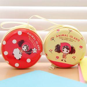 Carpeta linda de la Ronda de Niños Monedero Clave Mini moneda redonda caso de la bolsa de almacenamiento auricular de la historieta de las mujeres encantadoras de la cremallera del bolsillo Bolsas DH1445 T03