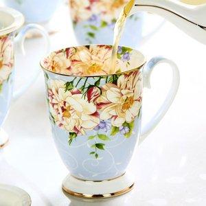 300ML Bone China Caneca cerâmica Tazas Cafe Floral Pintura Presente Ceramic Cerimônia do copo de chá Tea Vintage criativa