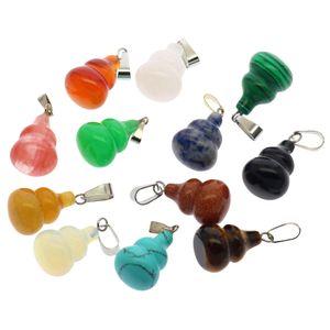 2019 À la mode en pierre semi-précieuse en forme de gourde 12 boîte de couleur mixte emballé pendentif en pierre naturelle agate de cristal ensemble