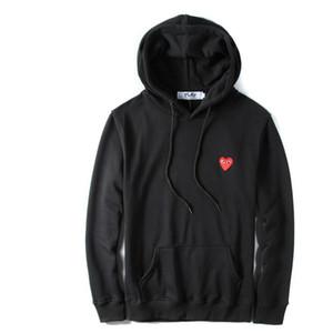 2019 Escudo del basculador del chándal Pullover Negro Blanco capucha sudaderas Nueva Otoño delgada del lunar sudaderas con capucha del corazón Impresión
