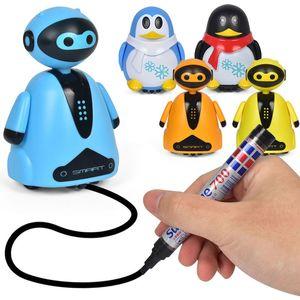 Электрический робот Электрический игрушка Электрический пингвин Спортивная модель Smart Follow Smooth вдоль линии рисования подарков Красочные волшебные детские игрушки