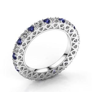 Classique New Bijoux Unique Mode Argent 925 WhiteBlue Sapphire CZ diamant Gemstones coeur creux femmes mariage Bague cadeau
