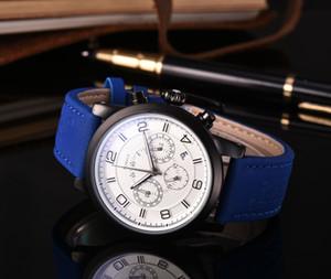 베스트 셀러 브랜드 독일어 월 고급 남성 시계 디자이너 시계 전체 기능 가죽 스트랩 쿼츠 시계 크로노 그래프 자동 날짜 손목 시계