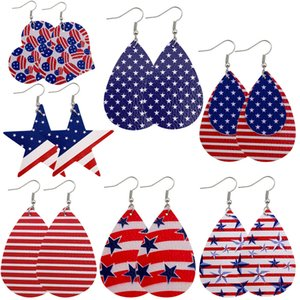 1Pair PU Leather Material National Flag Shape Pendientes Earring For Women Chic Creativity Dangle Earrings