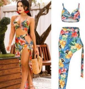 Mujeres Diseñador Traje de baño Playa Vestidos florales Femeninas Bras de vacaciones Split Split Up Dress 2pcs Club Club Sets