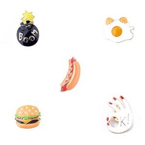 """Kişilik Yaratıcı Sevimli Kombinasyon Dekorasyon Broş Hediye Bob Omlet Hamburger Hot Dog Palmiye Tamam jest """"K!"""""""