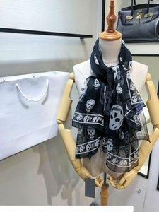 luxury scarf women chiffon silk Skull Shawl 140*140cm black designer brand cape fashion winter plaid scarf