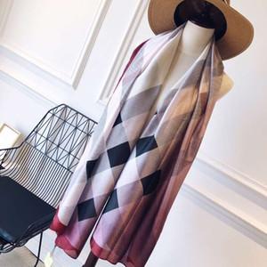 Primavera 2019 bufanda de seda clásico del caballo de guerra de diseño a cuadros forman la bufanda bufandas de la marca de impresión 180x90cm