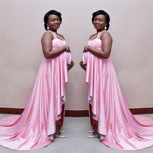 Glitter Pink Apliques Encaje Embarazada Vestidos de baile para mujer Largo Un hombro Vestido de maternidad africano de noche Vestido de Festa