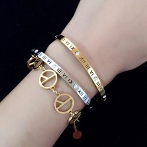 Rome Luxury Famous Jewelry Rose Gold Titanium Steel Bracelets & Bangles Female Crystal Party wedding Bracelet Charm Bracelet For Women