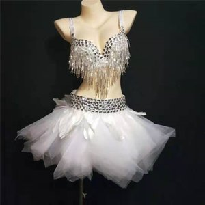 Y65 Ballroom Dance Tutu Kleid Bühne Kostüme Sänger trägt Mesh Feder kurzen Rock sexy Quaste Bikini BH Partei Outfit DJ Disco Show zu kleiden