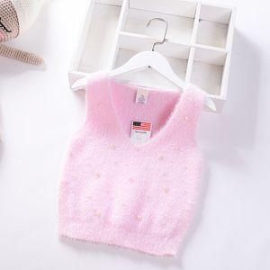 2019 muchachas del otoño del bebé del chaleco del suéter de visón terciopelo princesa suéter chaleco de punto rebordear Primavera V cuello de punto prendas de vestir exteriores de los niños paño de los niños