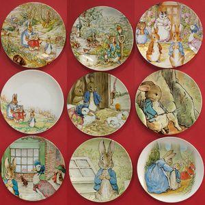 Peter Rabbit Creative Ceramic Decorative Plate Cartoon Fruit Plate Dish Wall Hanging Plate Kids Room Home Desktop Decor bunny Crafts