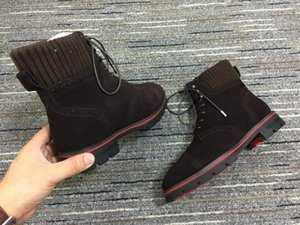 19Classic marcas rojas Botas Hombres Los diseñadores de fondo robustos Sole 20 mm Hombres de gamuza tobillo botas de gamuza café mate botas de cuero de la motocicleta genuino