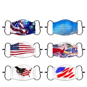 Cotton Masks Independence Day Face Mask USA Flag Eagle Washable Print Masks PM2.5 Dustproof Masks DHB258