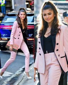 Hafif Pembe 2021 Gelin Annesi Pantolon Takım Elbise Kadınlar Business Suits Siyah Derinden Sakinli Yaka Smokin Blazer (Ceket + Pantolon)