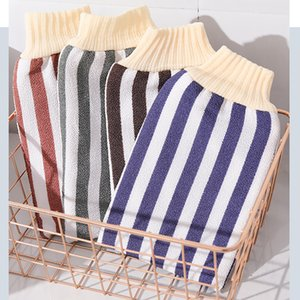 Manufacturers direct bath towel rub back vertical strip double wash towel roving two-sided bath towel wholesale gloves