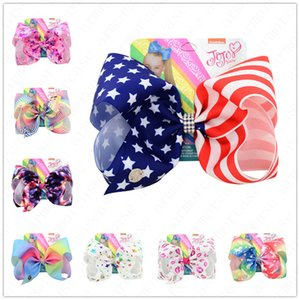 8inch Big Bowknot Barrettes Children Hair Clip Baby Girls Headwear Kids Hairpin Accessories USA Striped Stars Cartoon Bows Hairpins D6409