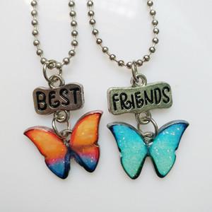 Pendentif papillon émail Collier Set Best Friends Designer Colliers 2Pcs / Set Couple Femmes Enfants Déclaration Bijoux Saint Valentin cadeau